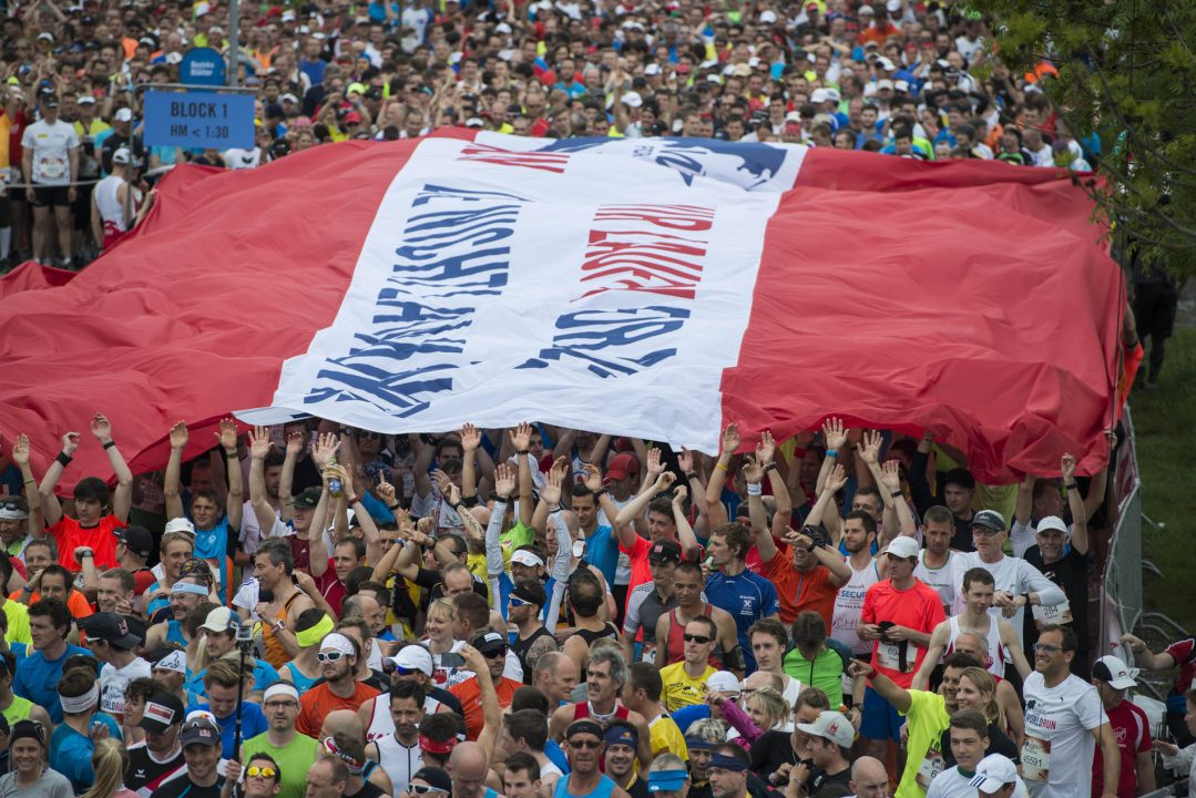 Participants compete during the Wings for Life World Run in lower Austria, Austria on May 3, 2015.